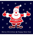 Colorful santa claus on dark blue background vector image