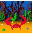 Crab in underwater world vector image