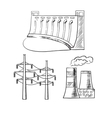 Electrical power plants and towers sketch icons vector image