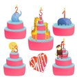 Happy Birthday Cakes Collection with Animals and vector image