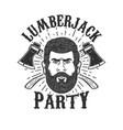 lumberjack party lumberjack head on background vector image