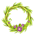 A round green border with flowers vector image