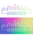 minneapolis skyline colorful linear style vector image