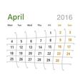April 2016 calendar funny grid vector image