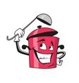 Cartoon saucepan character with ladle vector image