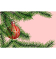 christmas tree branch with christmas ball vector image