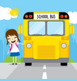 girl student go to school by school bus in the mor vector image