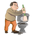man cleaning a toilet vector image