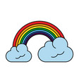 rainbow with clouds icon image vector image