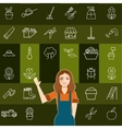 Set of vegetable line icons and a gardener woman vector image