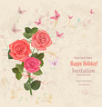 lovely bouquet of pink roses with flying vector image vector image