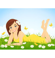 Happy girl in flower meadow vector image