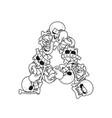 letter a skeleton bones font anatomy of an vector image