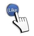 Mouse Hand Cursor on Circle Glossy Like Button vector image