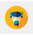 Bison buffalo ox flat icon Animal head vector image