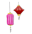 drawing Two Chinese lantern on a white background vector image vector image