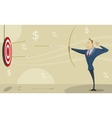 businessman shooting at target with bow and arrow vector image