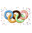 Colorful donuts in the shape of the Olympic symbol vector image