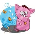 Cute funny kitten vector image