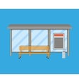 Empty Bus Stop with bench and trash receptacle vector image