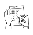 Hand filling checklist with pen vector image