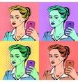 Pop art selfie poster vector image