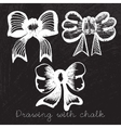 Set of bows drawn with chalk vector image