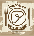 vintage poster with babecue label with meat fork vector image