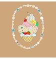 with the image of a cake in an oval vector image