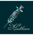 Healthcare icons in a shape of syringe vector image vector image