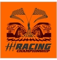 Car racing emblem and championship race badge vector image