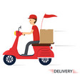 delivery service on scooter motorcycle vector image