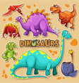 different types of dinosaurs on poster vector image