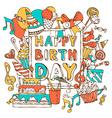 Hand-drawn Happy Birthday card vector image