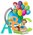 kids and different school items vector image