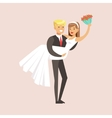 Newlyweds Man Holding Woman And Bouquet At The vector image