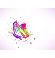 Rainbow ink butterfly on white background vector image
