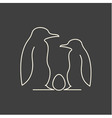 Linear of penguin family with egg vector image