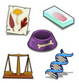 laboratory analysis dna bowl scales and leaves vector image