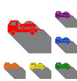 tow car evacuation sign set of red orange vector image