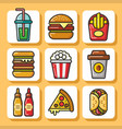 fast food icons 1 vector image