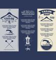 vintage tailor shop flyers template design vector image