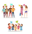 family retro cartoon set vector image