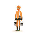 oilman in orange stained uniform standing with vector image