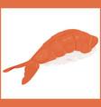 shrimp sushi japanese food isolated on white vector image vector image