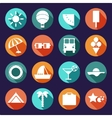 set of summer traveling icons with shadows vector image