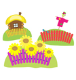 sunflowers Scarecrow village house vector image