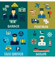 Banker taxi driver postman and sailor icons vector image vector image