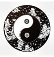 Drawing of a night sky with Yin Yang boho symbol vector image