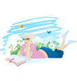 reading girl ingrass vector image